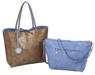 Sydney Love Ladies Reversible Tote Bag with Inner Pouch - Periwinkle & Gold