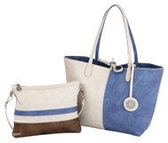 Sydney Love Ladies 4 Panel Reversible Medium Tote Bag - Creme Periwinkle & Gold