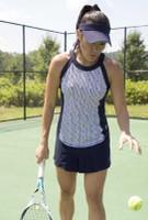 JoFit Ladies & Plus Size Tennis Outfits (Tanks & Skorts) - BELLINI (Herringbone/Midnight Navy)