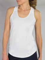 JoFit Ladies & Plus Size Topspin Sleeveless Tennis Tank Tops - BELLINI (White)