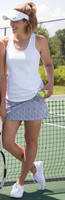 JoFit Ladies & Plus Size Tennis Outfits (Tanks & Skorts) - BELLINI (White/Herringbone)