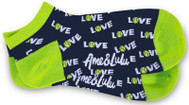 Ame & Lulu Ladies Meet You Match Socks - Green Navy Love