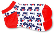 Ame & Lulu Ladies Meet You Match Socks - Red White Nice Play