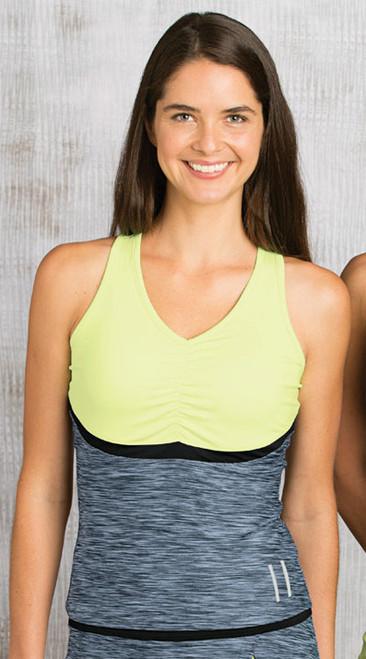 CLEARANCE Bolle Ladies Tennis Sleeveless Tank Tops – Shades of Grey (Citrus, Black & Black Heather)