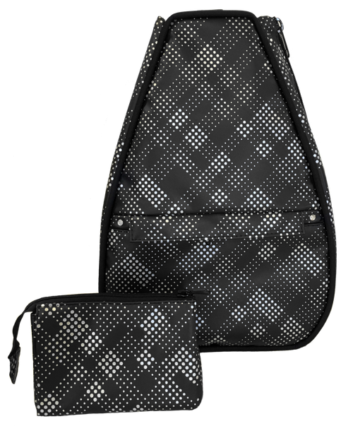 40 Love Courture Ladies Elizabeth Tennis Backpacks - Black Plaid Faux Leather With Black Lining