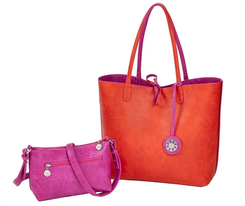 Sydney Love Ladies Reversible Tote Bag with Inner Pouch - Fuchsia & Orange
