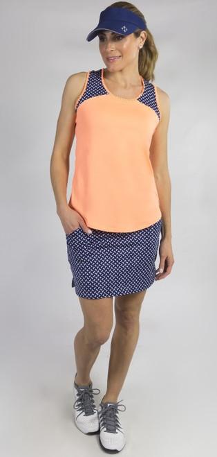 JoFit Ladies & Plus Size Tennis Outfits (Tanks & Skorts) - MADRAS (Papaya/Bow Print)