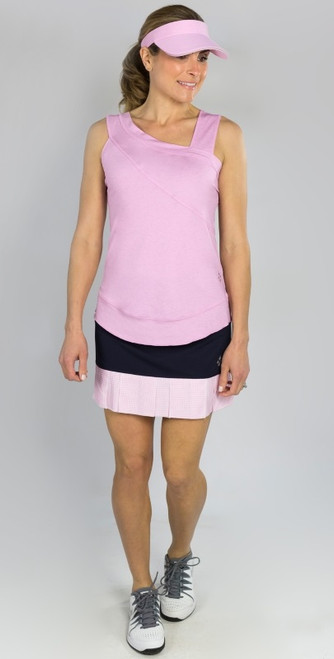 JoFit Ladies & Plus Size Tennis Outfits (Tanks & Skorts) - BELLINI (Bloom Pink/Midnight Navy)