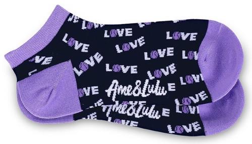 Ame & Lulu Ladies Meet You Match Socks - Purple Navy Love