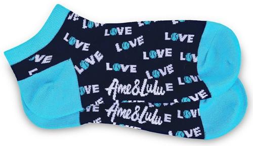 Ame & Lulu Ladies Meet You Match Socks - Turquoise Navy Love