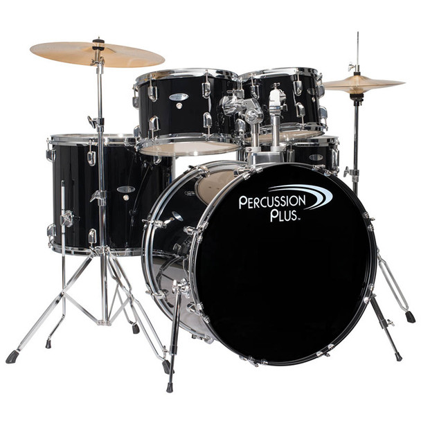 Percussion Plus 5-Piece Drum Set, Black