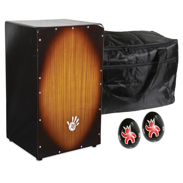 X8 Vintage Ash Cajon with Case and Shakers
