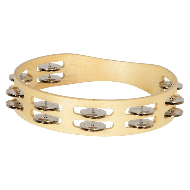 Double Row Round Tambourine with Bright Steel Jingles
