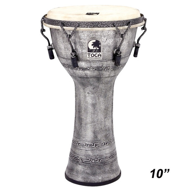 """Toca Antique Silver Mechanically Tuned Djembe, 10"""" Head x 18"""" Tall"""