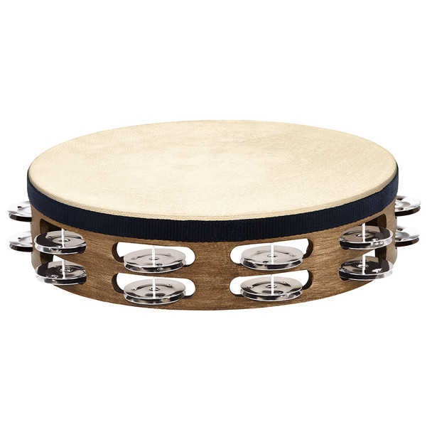 "Meinl 10"" Headed Tambourine, Double Row Jingles, Walnut Brown"