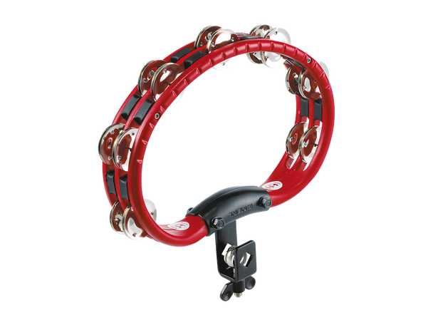 Mountable Traditional ABS Tambourine with Double Row Steel Jingles - Red