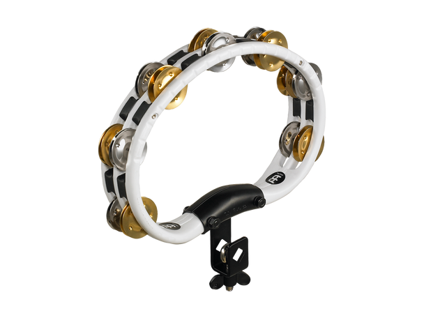 Mountable Recording-Combo ABS Tambourine with Dual-Alloy Jingles - White