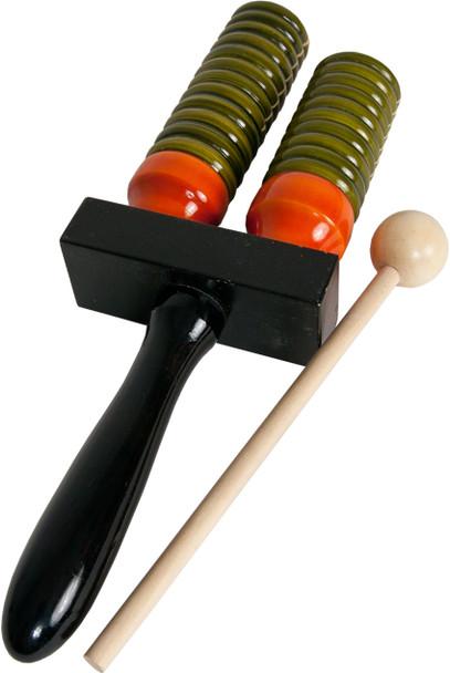 DOBANI Wooden Double Bell Agogo w/ Mallet - Green & Orange