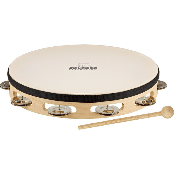 Nino Percussion 10-Inch Headed Wood Tambourine, 1 Row Jingles, Natural Finish
