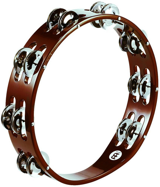 Meinl 10-Inch Wood Tambourine with Double Row Steel Jingles