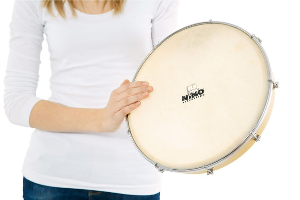 Nino Percussion NINO39 12-Inch Tunable Hand Drum with Synthetic Head, Natural Finish