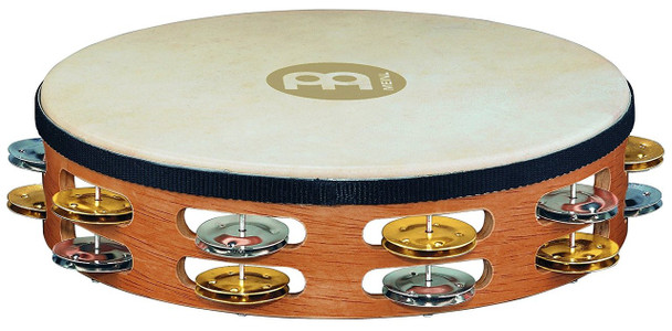 Meinl 10-Inch Wood Tambourine with Goat Skin Head and Dual Alloy Jingles