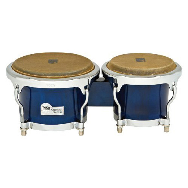 Toca 4600-BW Custom Deluxe Wood Bongos, Blue