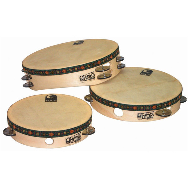 Toca Wood 7.5 in. Tambourine with Head, Steel Jingles