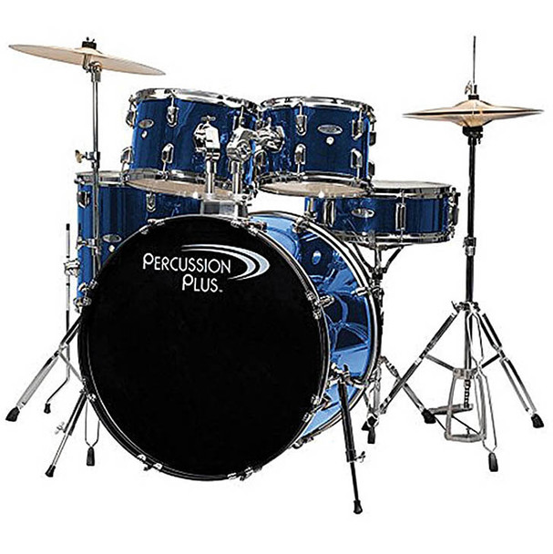 Percussion Plus 5-Piece Drum Set, Brushed Blue