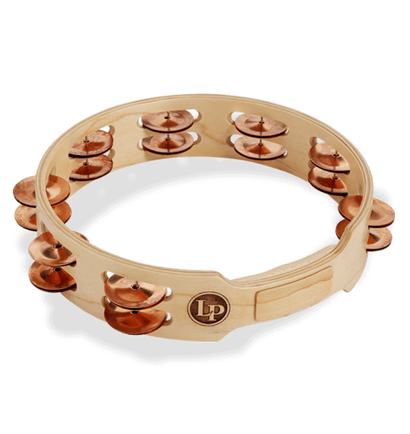 "LP Accent 10"" Double Row Wood Tambourine With Copper Jingles (LP382-C)"