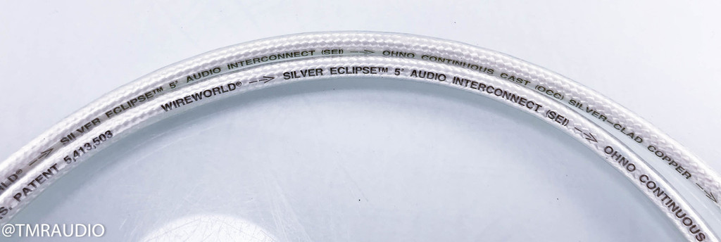 Wireworld Silver Eclipse 5.2 Y Split RCA Cables; 1m Pair Splitters; 5 Squared