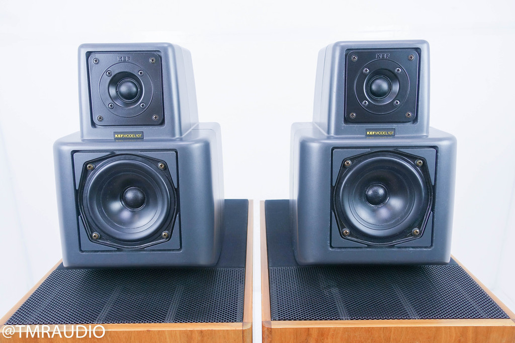 KEF Reference 107/2 Vintage Floorstanding Speakers ; Walnut Pair w/ KUBE; Boxes