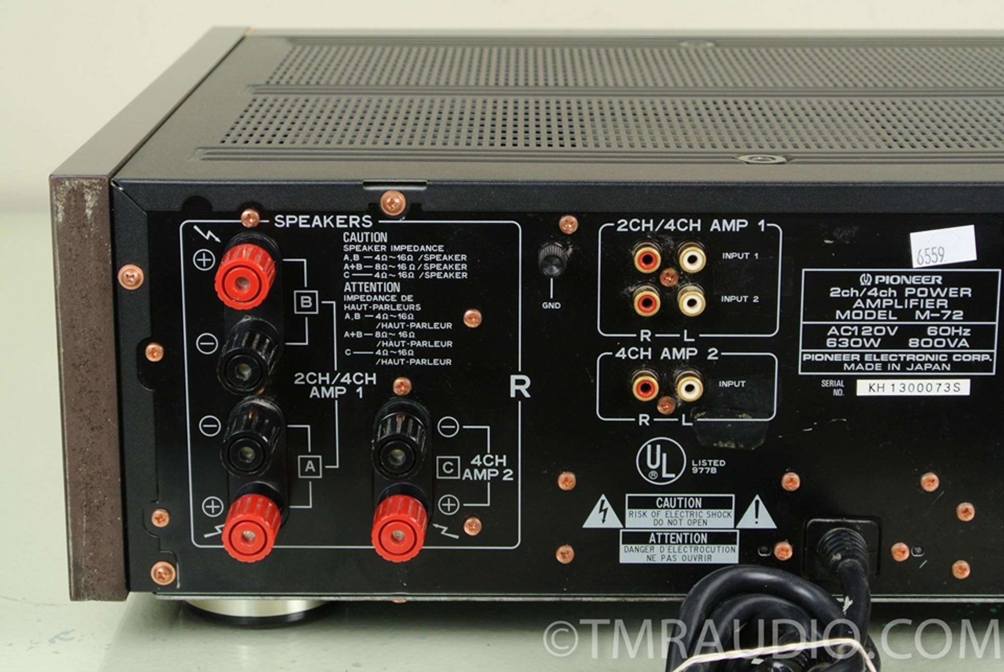 Pioneer M 72 2 4 Channel Power Amplifier Stereo Power