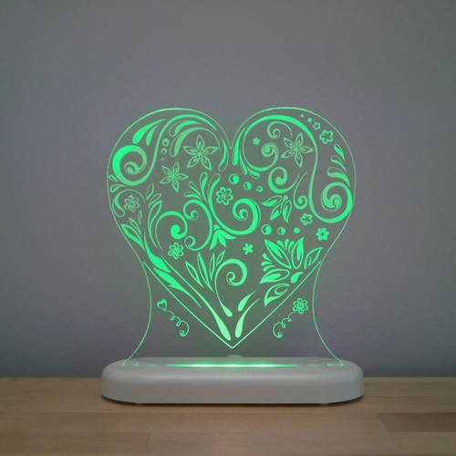 Aloka Night Light Heart Green
