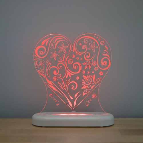 Aloka Night Light Heart Red