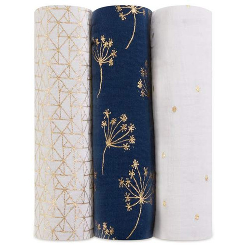 3-Pack Classic Swaddles - Metallic Gold