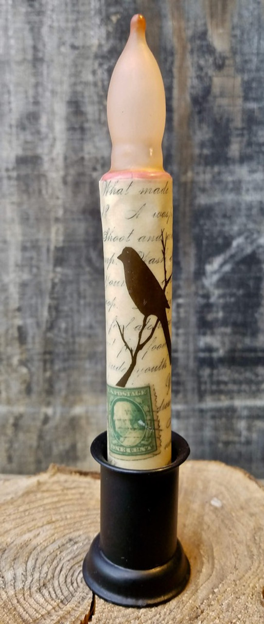 Battery LED Candle Postage Stamp with Script & Bird