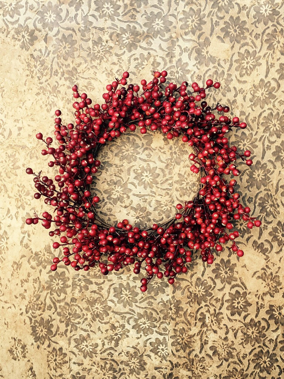 Matte Red Berry Candle Ring/Wreath