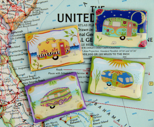 Set of 4 Vintage Camper / Travel Trailer Fridge Magnets