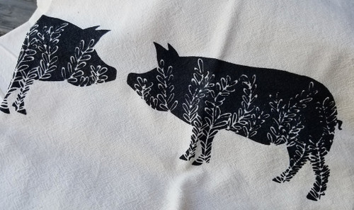 Two Little Piggies Flour Sack Tea Towel (BLACK)
