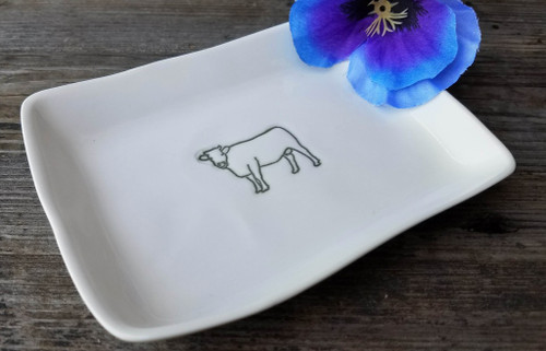 Hand-Made Fine Porcelain Rectangular Mini-Plate COW