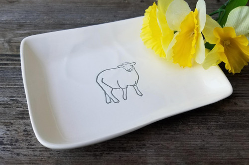 Hand-Made Fine Porcelain Rectangular Mini-Plate SHEEP