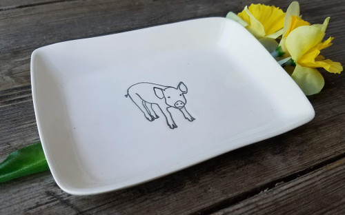Hand-Made Fine Porcelain Rectangular Mini-Plate PIG