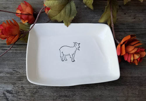 Hand-Made Fine Porcelain Rectangular Mini-Plate GOAT