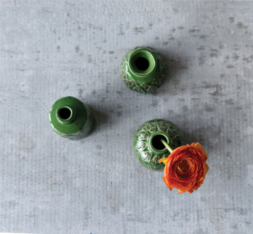Set of Three Embossed Green Ceramic Bud Vases