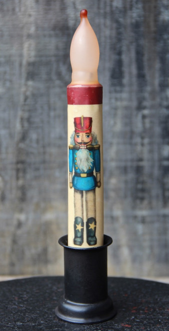 LED Battery Candle for Christmas Blue Nutcracker