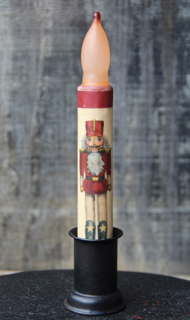 LED Battery Candle for Christmas Red Nutcracker