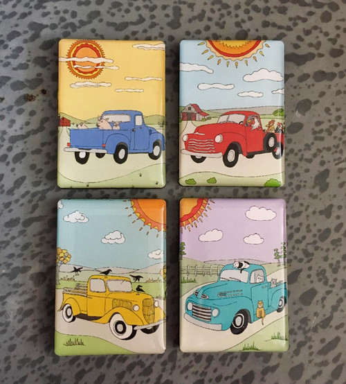Retro Rides - Set of Four Vintage Truck Magnets