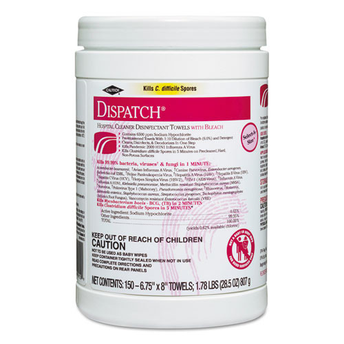 Clorox Dispatch hospital cleaner disinfectant towels wipes with bleach 150 wipes per canister case of 8 canisters Clo69150