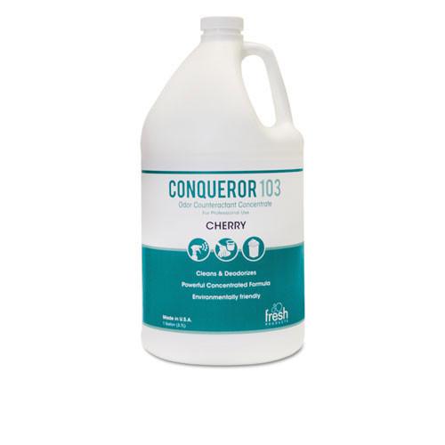 Fresh frs1232wbch conqueror 103 liquid deodorizer cherry 32oz size 2 trigger sprayers in case of 12 bottles